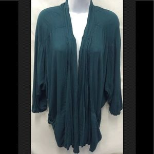 ECOTE Anthropologie Open Cardigan Shawl Teal